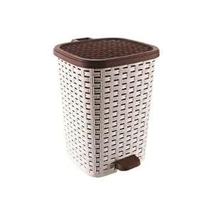 26 Litre Plastic Dust Bin Kitchen Bathroom Bedroom Waste Bin Pedal Dust Bin New Cream/Brown