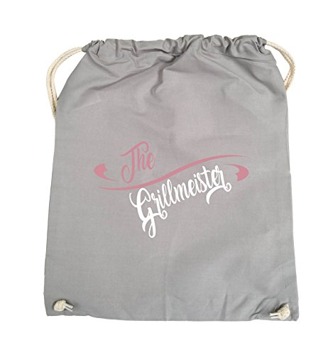 Comedy Bags - The Grillmeister - Turnbeutel - 37x46cm - Farbe: Schwarz / Weiss-Pink Hellgrau / Rosa-Weiss