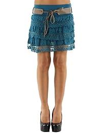jowiha® Volant Minirock Damen Sommer Rock mit Spitze und Gürtel verschiedene Farben Einheitsgröße 34-40 XS-M