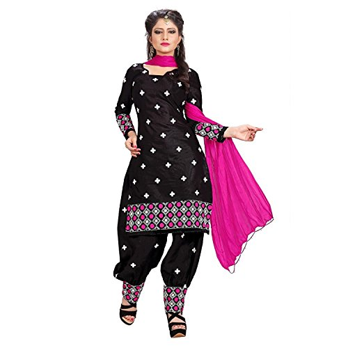 rangrasiya Women's Cotton Unstitched Dress Material (Black_Free Size)