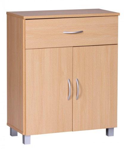 FineBuy Buffet bois hêtre 60 x 75 x 30 cm deux portes | Armoire à usages multiples design moderne | Salle à manger buffet espace de sauvegarde | Étagère fermée 1 tiroir | Petite commode avec des pieds