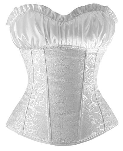 loveorama.de Charmian Princess Creamy Ivory – Damen Vollbrustkorsett – Renaissance-Stil – Weiß – XL