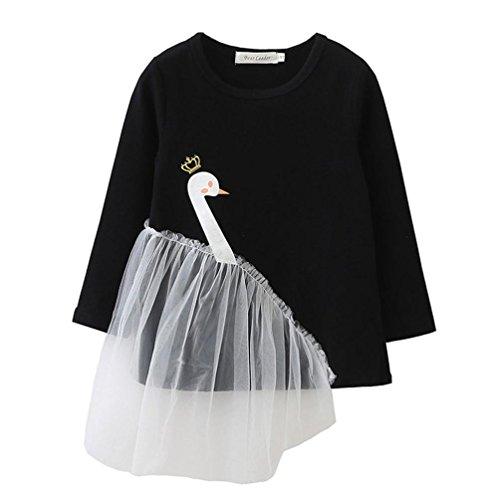 er Schwan Netzgarn Flickwerk pullis Mädchen warm Prinzessin langarmshirt,0-5 Jahren (Schwarz, 4 Jahren) (Schwan Prinzessin Kostüm Kinder)