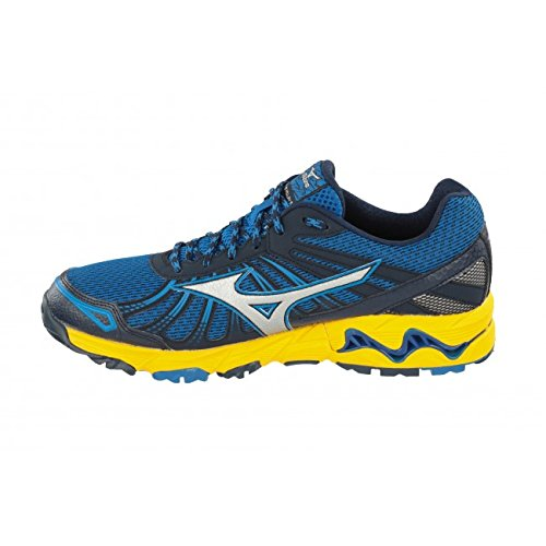 Mizuno Wave Mujin 3, Chaussures de Running Compétition homme Skydiver / Silver / Spectra Yellow