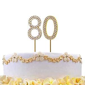 Gifts 4 All Occasions Limited SHATCHI-825 - Decoración para tarta (número 80), diseño de diamantes, color dorado
