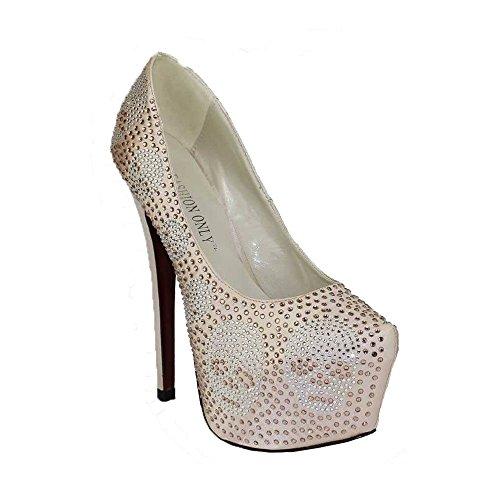 TrendStar Trend-Stern-Frauen-Absatz-Plattformschuhe Verziertes Schädel-Partei-Hochzeits-Diamantgröße 3-8 (Pumpen Für Schuhe Auf Frauen Verkauf)