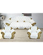 Luxury Crafts Net Polyster Fabric 5 Seater Sofa and Chair Cover with 6 pcs Arms Covers(Set of 12 pcs)(White)