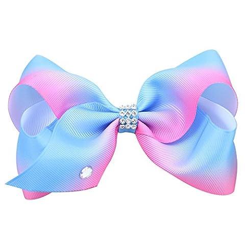 Girls Fashion Hair Bow Large Crystal Rhinestone Grosgrain Ribbon Bow Hair Clip with Dance School Accessory-Pastel Multi-Coloured (Blue