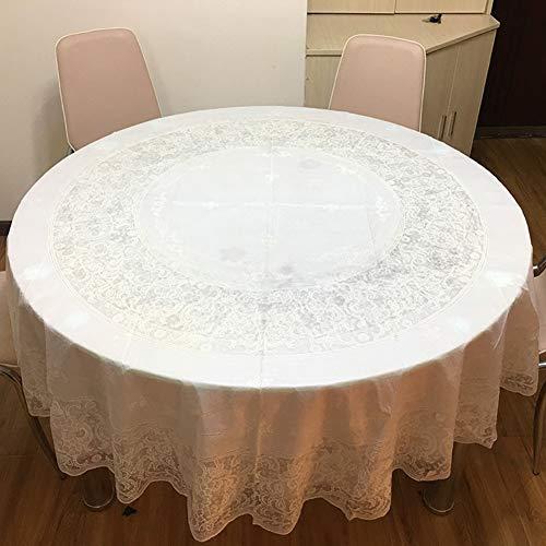 BATSDCB PVC Vergoldung Tabelle Tuch, Abwaschbar Wasserdicht Öl Beweis Kunststoff Vinyl Spitze Runde Tischdecke tabellenabdeckung-Weiß Diameter:180cm(71inch)