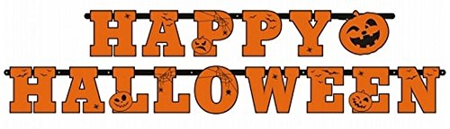 Feste Feiern Halloween Deko I 2 Teile Girlande Schrift Happy Halloween Orange 210cm Lang Happy Horror Grusel Party