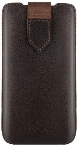 Vicious and Divine Superior Leather Soft Pouch, Echtleder, handgefertigt, Magnetschließe, Größe ML (Apple iPhone 5/ 5S/ 5C, HTC One mini und weitere Geräte), dunkelbraun