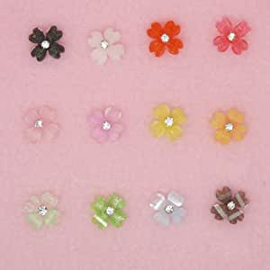60pcs Acrylic Nail Art 3D Tips 12 Mix Colors Rhinestoner/Gem Flower Design Decoration Decal With Storage Case