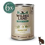 Wildes Land | Nassfutter für Katzen | Nr. 3 Huhn PUR | 6 x 400 g | Getreidefrei & Hypoallergen | Extra viel Fleisch Akzeptanz und Verträglichkeit | Rohstoffe aus der Lebensmittelproduktion