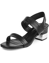 tresmode Womens Black Block Heel Sandals