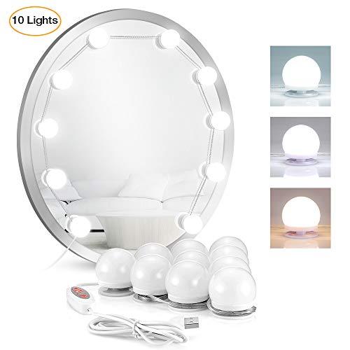 2019 Verbesserte led Spiegelleuchte/Licht für Spiegel, LANGSTAR Makeup Lights Strip Set mit 10 Hollywood-Glühbirnen für den Schminktisch, 8 Farbtöne, 6 Helligkeitsstufen (Spiegel nicht enthalten)