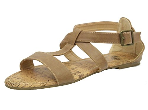 Strappy Gladiatore Stili Piani 36 Sandali Toe Casuali Dimensioni Salti 41 Peep Beige Donne Estate qUAapwxxnT