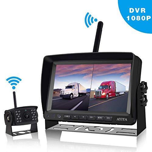 HD Digital Wireless Rückfahrkamera Kit mit Aufnahmefunktion für Wohnmobile,LKW,Anhänger, Van,Bus,Wohnmobil,Keine Interferenz,IP68 wasserdichte kabellose Backup-Kamer&7-Zoll-LCD-Split-Rückfahrmonitor