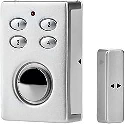 KOBERT GOODS – SP65 SILBER drahtloser Tür Fenster Garage oder Vitrinen Alarm, Einsatz als Alarmanlage, Einbruchsschutz, Mit PIN Code Eingabe, Magnet / Vibration / Erschütterung Sensor sowie 130db Sirene