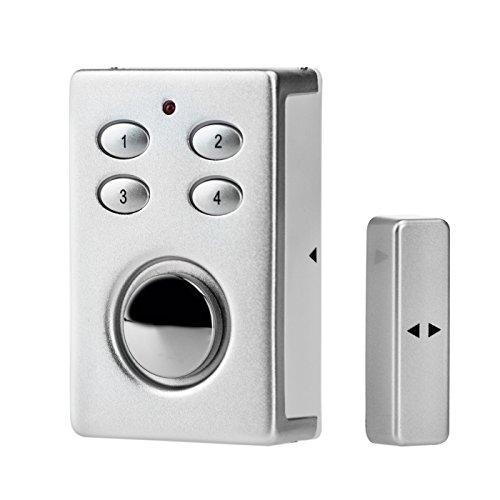 KOBERT GOODS - SP65 SILBER drahtloser Tür Fenster Garage oder Vitrinen Alarm, Einsatz als Alarmanlage, Einbruchsschutz, Mit PIN Code Eingabe, Magnet / Vibration / Erschütterung Sensor sowie 130db Sirene