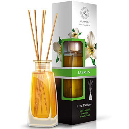 Diffuser Aromas de Jazmíne 100ml - Fresh and Long Aroma - with 8 bamboo sticks - 0% Alcohol - Pure Jasmine Oil for Rooms - Homes - Offices - Restaurants - Aromatherapy