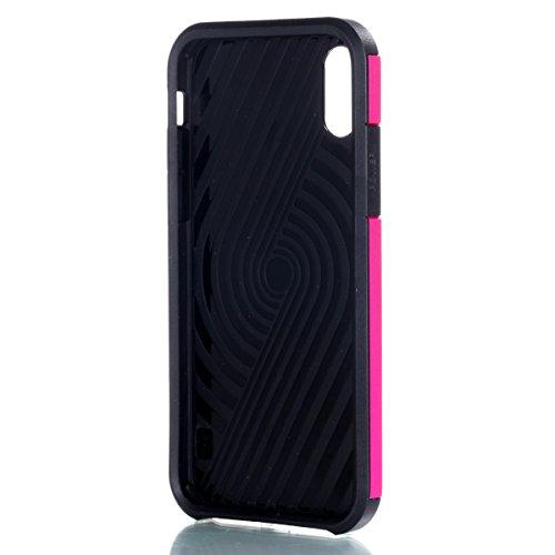 CaseforYou Hülle iphone X Schutz Gehäuse Hülse Hybrid Dual Layer Armor Shockproof Slim Back Case Protective Cover Schutzhülle für iphone X Handy (Rose Gold) Hot Pink