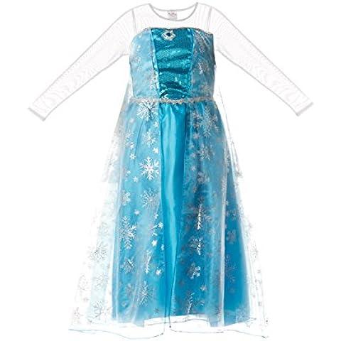 Vestido de la reina de la nieve Elsa de Frozen, para niñas, de Fairy Tale Designs - Talla para edades de 7-8