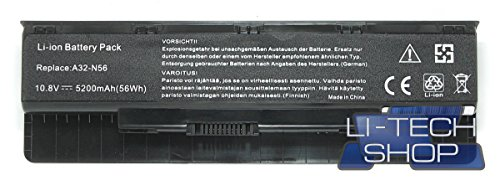 Foto LI-TECH Batteria Compatibile 5200mAh per ASUS N56VZ-S3034V 10.8V 11.1V 6 Celle Nero PILA