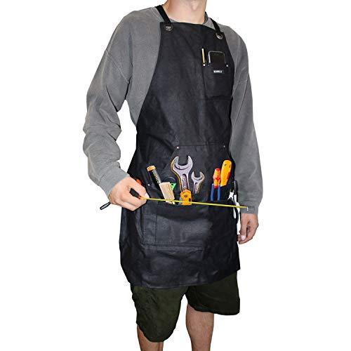 Bizarre.ly Schwere arbeitsschürze (5 Taschen) - 60.1 x 83.8cm Unisex, Wasserdicht, Gewachste, SchwarzeLeinenArbeitsschürze - Verstellbarbis XXL - FürKüche, Kellner, Gärtner, Töpfern,