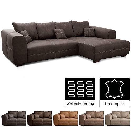 Cavadore Ecksofa Mavericco / XXL Eckcouch Inkl. Rückenkissen und Zierkissen / Longchair rechts / Industrial Style / 285 x 69 x 170 (BxHxT) / Mikrofaser Anthrazit
