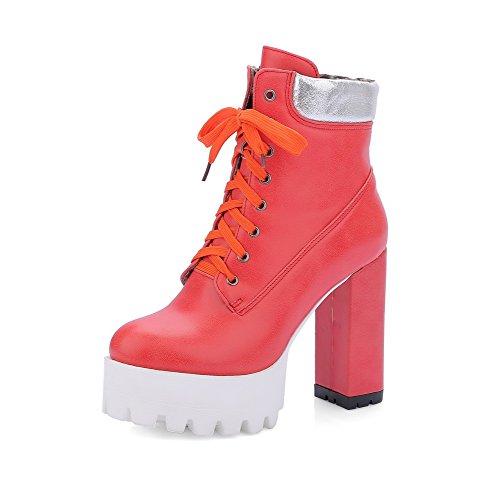 VogueZone009 Damen Hoher Absatz Weiches Material Gemischte Farbe Schnüren Stiefel, Weiß, 35