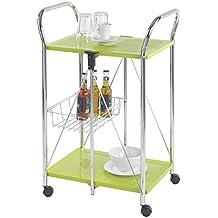 WENKO 900050100 Carrello cucina e portavivande Sunny verdei - pieghevole, Metallo patinato, 56.5 x 90.5 x 44 cm, Verde