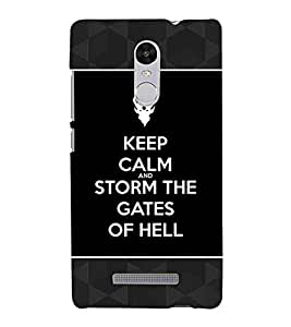 For Xiaomi Redmi Note 3 :: Xiaomi Redmi Note 3 Pro :: Xiaomi Redmi Note 3 MediaTek keep calm and storm the gates of hell, good quotes, icon, black background, pattern Designer Printed High Quality Smooth Matte Protective Mobile Case Back Pouch Cover by APEX