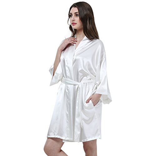 Joyplay Damen Bademantel Satin Robe 6 Farben Weiß