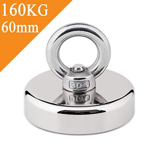 Uolor 160 KG Haftkraft Super Stark Neodym Ösenmagnet, Power Magnet Perfekt zum Magnetfischen - Ø 60mm mit Öse Neodymium Topfmagnet