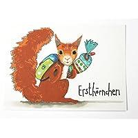 Einschulung Karte Erstklässler Glückwunschkarte I-Dötzchen Eichhörnchen Schultüte