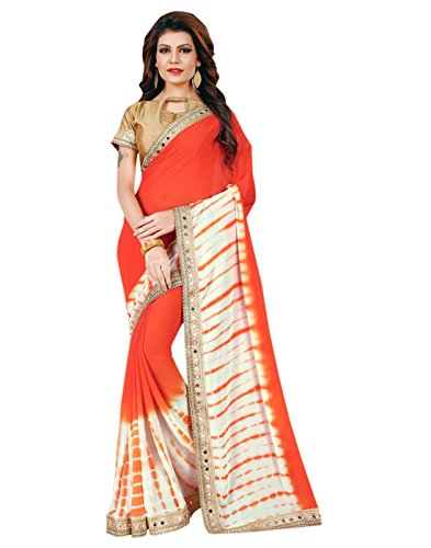 Sarees (Women's Clothing Chifon Saree For Women Latest Design Wear New Collection in Latest With Designer Blouse Free Size Beautiful Orange Saree For Women Party Wear Offer Designer Sarees With Blouse Piece)