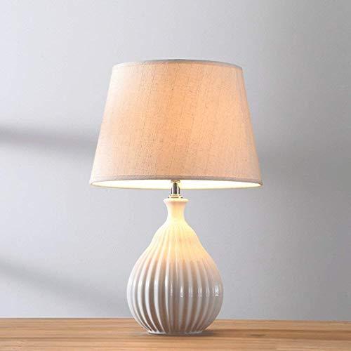 AOLI Tischlampe Wave Keramik Tischlampe Schlafzimmer Nacht, nordischen Stil, warm, dimmbar, grün, H51Cm * W32Cm,Weiß -