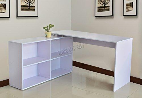 FoxHunter Schöne Einrichtung L-Form Computer Eck-Schreibtisch mit Ablage Home Office Studie PC Tisch Workstation Gaming Möbel groß CD12weiß