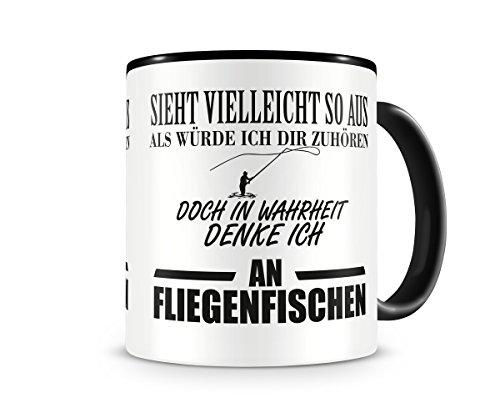 Ich denke an Fliegenfischen Tasse Kaffeetasse Teetasse Kaffeepott Kaffeebecher Becher