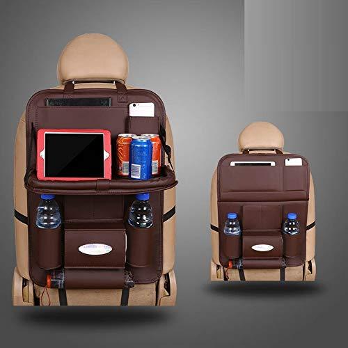 Auto Rücksitz-Organizer Autositz Aufbewahrungstasche Sitzbezug Bezug Aufbewahrungstasche Rücken Kindertrittpolster universal, braun -