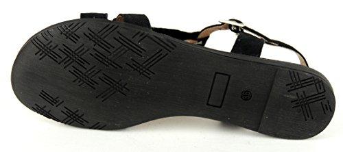 MARCO TOZZI Damen Sandalette KOMPLETT LEDER schwarz Fransen Black