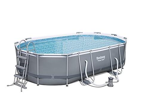 Kit piscine Bestway cadre en métal ovale, gris foncé avec pompe filtrante + accessoires, 488x 305x107cm