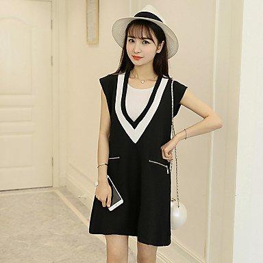 PU&PU Robe Aux femmes Ample Simple,Mosaïque Col en V Mini Coton BLACK-L