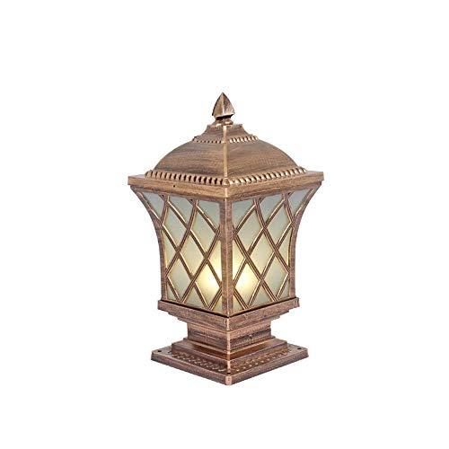 ZHANG NAN ● Einzelkopf Druckguss-Aluminium-Außenpfosten-Pfosten-Lampen-Licht im Freien wasserdichte IP55-Säulen-Laternen-Patio-Beleuchtung mit Mattglas-Säulen-Lampe (Farbe: Bronze-20 * 49cm) ● -