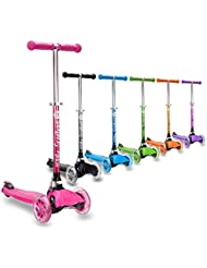 3StyleScooters® RGS-1 Little Kids 3 Wheel Kick Scooter - Perfect for Children Aged 3+ - LED Light-Up Wheels, Foldable Design, Adjustable Handles & Lightweight Construction