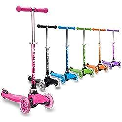 3StyleScooters® RGS-1 (Petite) Trottinette à 3 Roues pour Enfant - idéale pour Les Enfants âgés de 3 Ans et Plus - avec Roues à lumières LED, modèle Pliable et poignées réglables (Rose)