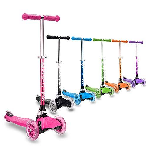 3STYLE scooter® rgs-1Little Kids, monopattino a ruote–perfetto per bambini di età compresa tra 3+–LED light-up Wheels, design pieghevole, manici regolabili e leggerezza, Bambino, RGS-1, rosa, Taglia unica
