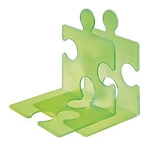 HAN 9212-60, CD-Ständer/Buchstütze PUZZLE, Schick, Innovativ und sehr Standfest. Beliebig verkettbar, Set mit 2 Stück, transluzent-grün