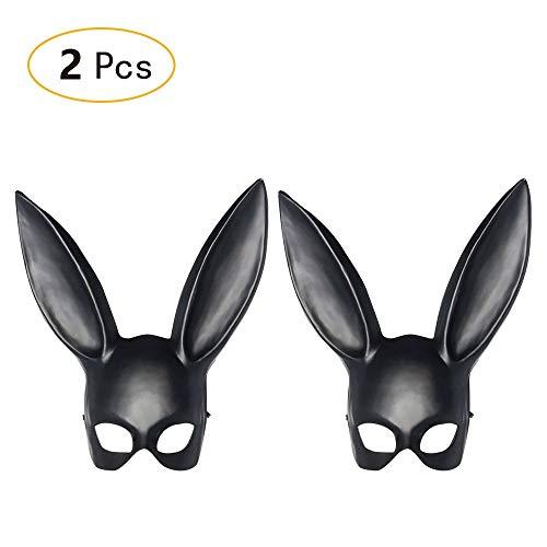 Samine Damen Maske für Kaninchen, halbes Gesicht, Katze, Fuchs, Halloween, Maskenmaske, Kostüm, Party, Prinzessin, Schwarz, 2 Stück