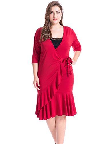 Chicwe Damen Große Größen Whimsy Wrap Kleid Rot 3X (Ausgestattet Klassische Shirt Formale)